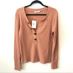 We The Free Free People Oliver Henley Top in Clay